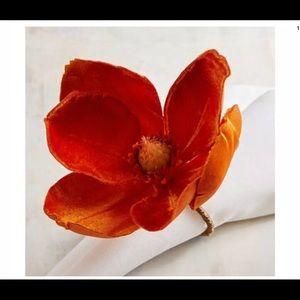 Orange Flower Velvet Napkin Rings
